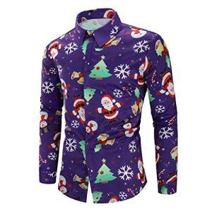 Cebbay Noël Chemise Automne Hiver Populaire à Manches Longues Couture Occasionnels pour Hommes Slim Fit Grande Taille Haut Casual Chemiser Tops Blouse(Pourpre,EU-46/CN-XL)