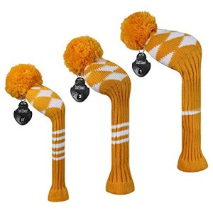 Meili monts Couleur vive Argyles/rayures style Tricot de golf Couvre-fer Lot de 3pour driver, bois de parcours et hybride, Long cou, Big Pom Pom, Orange White Argyels
