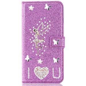 Miagon pour Samsung Galaxy A20 Portefeuille Coque,3D Glitter PU étui en Cuir Diamant Fermoir Magnétique Stand Strass Housse,Ange Violet