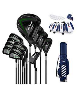 PGM L'ensemble Complet des Clubs de Golf pour Hommes Comprend Le Pilote en Titane, Le Fairway S.S, l'hybride S.S, Le Fer S.S. 5-PW, Le Putter et Le Sac,Noir,R