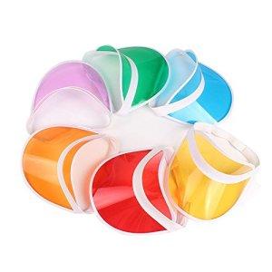 HUPLUE Plastique Pare-Soleil Chapeau de Golf de Tennis de Plage de Couleur Transparente Visière Chapeau Protection UV, 6Pcs