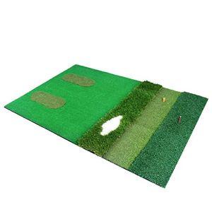 Tapis de golf multifonctions Entraînement de frappe Tapis d'herbe Intérieur Conduite Portative Tapis d'entraînement de golf pour entraînement avec fond en EVA hautement élastique Équipement de golf