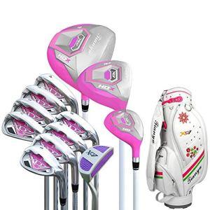 YAOSHIBIAN- Femmes Golf Débutant 12 Pièce Golf Club Set Rose Golf Putter Golf Practice Club Set pour Les Dames avec des Gants Équipement de Golf (Couleur : One Color, Taille : A2)