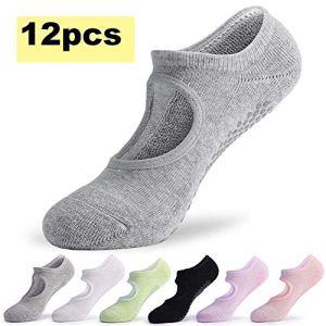 ZQSDL Chaussettes de Yoga Femme,Chaussettes pour Dames, idéales pour Le Pilates, Le Yoga, Le Ballet, Le Ballet, Le Fitness, l'entraînement aux Pieds Nus, Les Trampolines(12pcs)