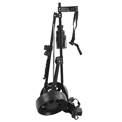 Huakii Équipement de Golf Chariot de Golf léger et Robuste à 2 Roues, métal Noir + Plastique Poussez sans Effort Le Chariot de Golf, pour Le mobilier Quotidien extérieur de Golf