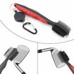 ShawFly Golf Club Brush and Groove Cleaner Brush Brosse Double Face Brosse de Nettoyage de Club avec Clip de Boucle pour Accessoires de Golf, Clubs, Chaussures, Coins et fers (2 pièces)