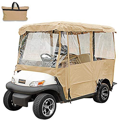 Ukiki Couverture de Voiturette de Golf Ezgo 4 Passagers Cabine de Conduite Porte Etanche Porte à Enroulement Enceinte de Conduite avec Couvercle pour Voiturette de Golf 4 Passagers Yamaha G (Beige)