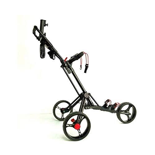 YLKCU Chariot de Golf Pliable 3 Roues Chariot de Golf Chariot de Golf Manuel à Pousser/Tirer avec Porte-Parapluie Carte de Score et Porte-Boisson Chariot de Golf en Aluminium