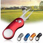 Golf Divot Outil en Acier Inoxydable métal Pliable Golf Fourche avec Le Bouton Pop-up