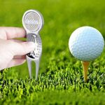 LINKLANK Fourchette de terrain de golf, 2 marqueurs de balle de golf, mini fourche de putting pour entraînement au golfeur (81 x 29 mm)