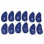 RiToEasysports Couvre-tête de Fer de Golf 12Pcs, couvertures de Protection de tête de Club de Golf de Fer en Cuir PU(Motif Borland Lichee)