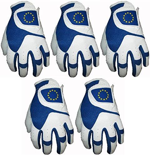 Lot de 5gants en cuir de vachette de golf européens Ryder Cup, x-large