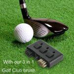 Brosse de Club de Golf,3-en-1 Brosse de Nettoyage de Golf,Rétractable Brosse de Nettoyage Kit,Golf Poche Brosse pour Nettoyer Surface & Rainures de Club
