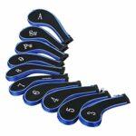 Ysislybin Lot de 10 housses de tête de club de golf avec nombre imprimé pour couvre-clubs de golf (bleu marine)