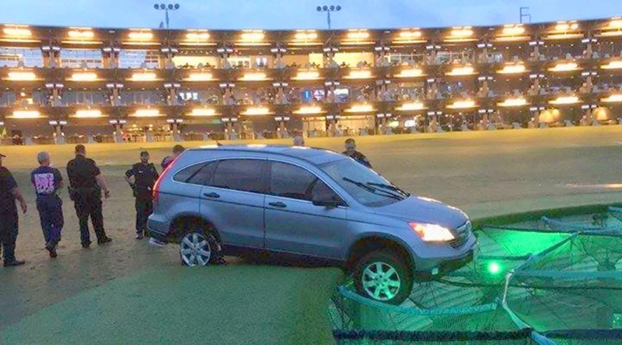 A unnamed suspect drove this stolen car onto a Topgolf driving range in Georgia on Thursday.