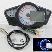 14000 rpm LCD Digital Speedometer Tachometer Odometer Motorcycle Mph km/h 199 km/h