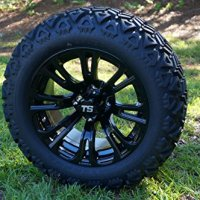 "14"" Golf Cart Wheels and Tires Combo Set of 4 Black w/ All Terrain Tires"