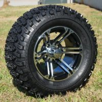 "12"" Golf Cart Wheels and Tires Combo Set of 4 Machined/Black w/ All Terrain Tires"
