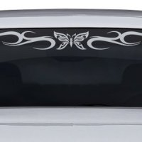 "Sticky Creations - Design #134-01 Butterfly Tribal Swirl Swoosh Windshield Decal Sticker Vinyl Graphic Back Rear Window Banner Tailgate Car Truck SUV Van Go Cart Boat Trailer Wall | 36""x4.25"" - Silver Metallic"
