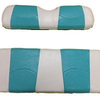 Kool Cushions EZGORXV-WHAQBLSTFR-01 -Custom Vinyl Golf Cart Seat Covers Front and Rear-White With Aqua Blue Stripe - For EZ-GO RXV Golf Cart