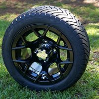 "12"" Golf Cart ""RALLY"" Wheels and Tires, Machined/Black, Set of 4"