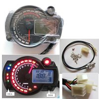 199 km/h LCD Digital Speedometer Tachometer Odometer Motorcycle mph kmh 14000 rpm