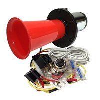 OOGA Horn Red Antique Classic Car Hot Rod Oooga Ahooga with Installation Wire Kit and Button
