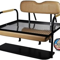 "EZGO TXT and Medalist (1995-2014) Golf Cart ""Liberty"" Rear Flip Back Seat Kit - Tan Cushions - Diamond Plate Deck"