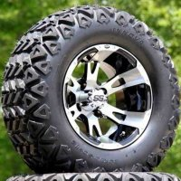 "12"" RUCKUS Machined/Black Golf Cart Wheels and 23x10.5-12 DOT All Terrain Golf Cart Tires - Set of 4"