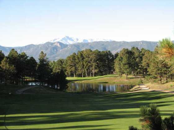 The Country Club at Woodmoor in Monument     The Country Club at Woodmoor  View of the 13th hole with Pikes Peak  serving as