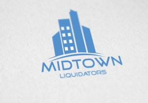 Midtown Liquidators logo showing Midtown buildings in Dodger blue with the words Midtown Liquidators written below the logo
