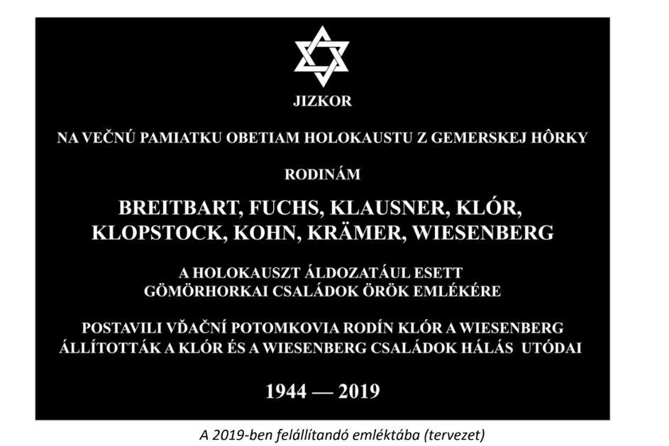A holokauszt áldozataira emlékeznek Gömörhorkán