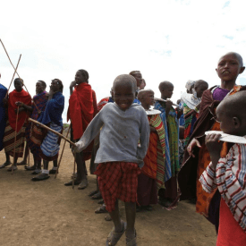 A Massai child joining in the fun