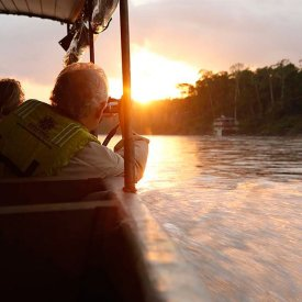 Exploring the Amazon basin via motorized canoe