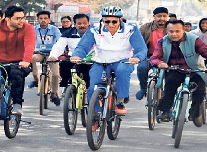 ts-baba-in-bilaspur-bicycle-raily