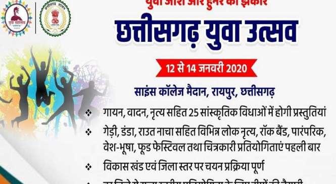 रायपुर : राज्य युवा महोत्सव 2020 का आगाज आज, राज्यपाल अनुसुईया उइके करेंगी शुभारंभ, मुख्यमंत्री भूपेश बघेल कार्यक्रम की करेंगे अध्यक्षता