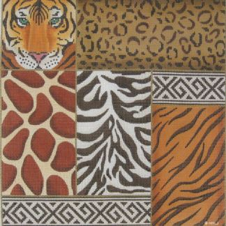 Animal Skin Patchwork with Tiger Face