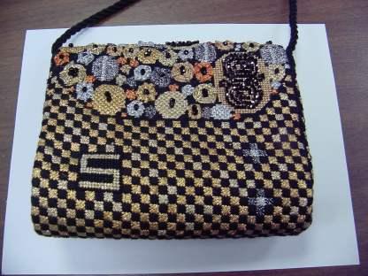 Black and Gold Klimt Gusset Purse