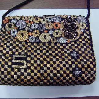 Black and Gold Klimt Gusset Purse