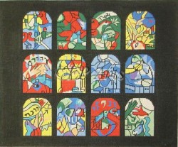 Chagall Windows Black Tallis : Black Background