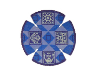Tribes Quilt in Blues Yarmulke