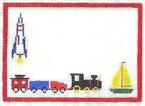 Boy Birth Announcement With Trains