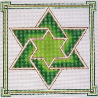 Double Star of David Tefillin in Green