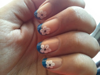 31 Day Nail Art Challenge Blue French Tip With Flower