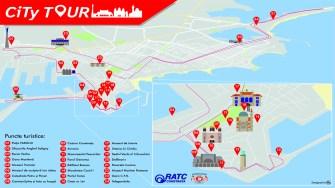 Harta cu traseul City Tour precum și obiectivele turistice atinse