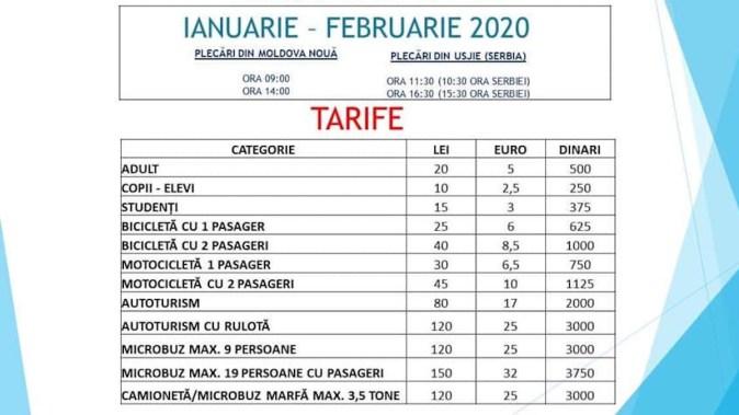 Programul și tarifele pentru noua rută