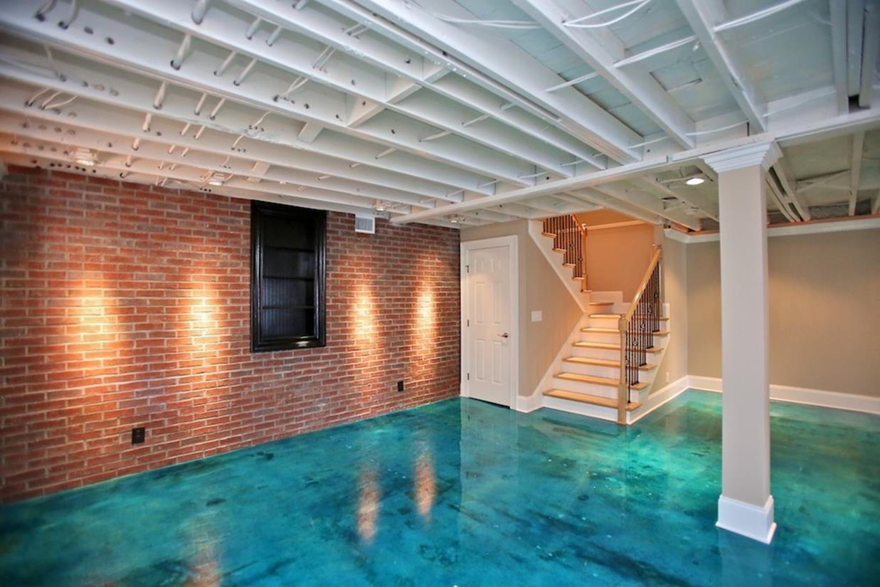 Basement Concrete Floor Paint Color Ideas 10
