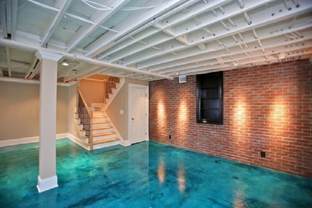 Basement Concrete Floor Paint Color Ideas 20