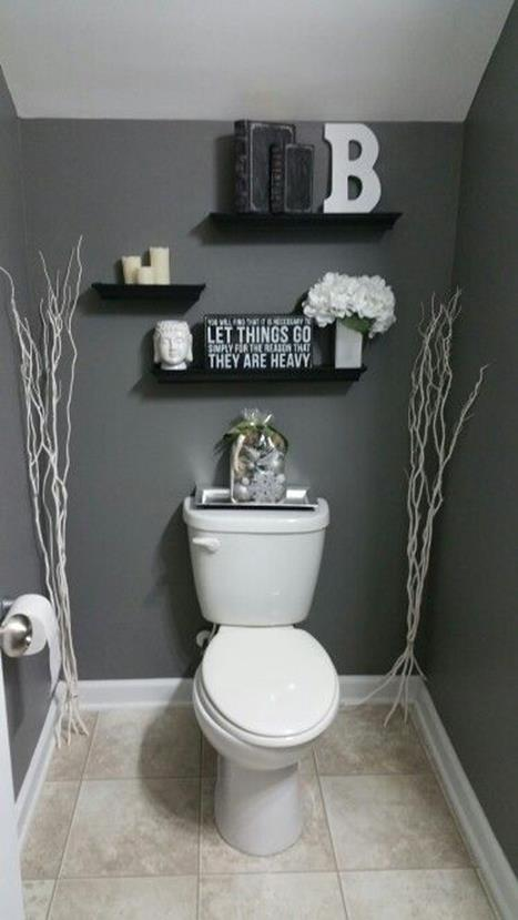 Gray Half Bathroom Decorating Ideas On A Budget 10
