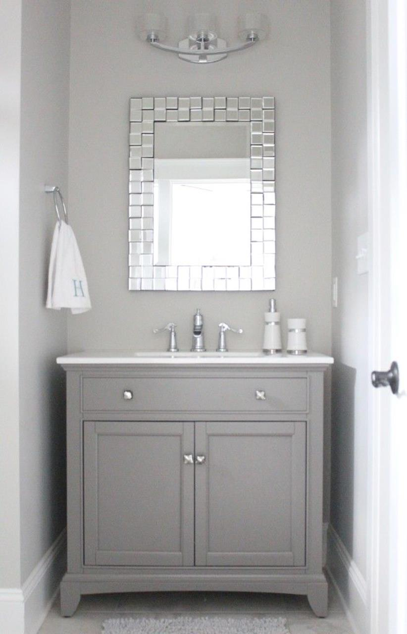 Gray Half Bathroom Decorating Ideas On A Budget 19